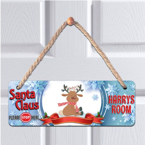 Personalised ANY NAME Children's Bedroom Christmas Santa Stop Hanging Door Plaque N3